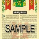 DUFFY - IRISH - Coat of Arms - Family Crest - Armorial GIFT! 8.5x11