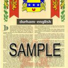 DURHAM - ENGLISH - Coat of Arms - Family Crest - Armorial GIFT! 8.5x11