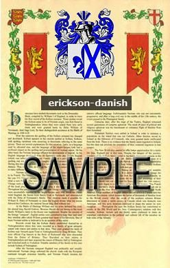 ERICKSON - DANISH - Coat of Arms - Family Crest - Armorial GIFT! 8.5x11