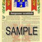 FERGUSON - SCOTTISH - Coat of Arms - Family Crest - Armorial GIFT! 8.5x11