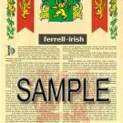 FERRELL - IRISH - Coat of Arms - Family Crest - Armorial GIFT! 8.5x11