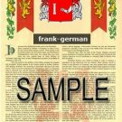FRANK - GERMAN - Coat of Arms - Family Crest - Armorial GIFT! 8.5x11