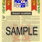 FRASER - SCOTTISH - Coat of Arms - Family Crest - Armorial GIFT! 8.5x11