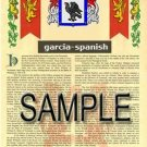 GARCIA - SPANISH - Coat of Arms - Family Crest - Armorial GIFT! 8.5x11