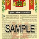 GONZALES - SPANISH - Coat of Arms - Family Crest - Armorial GIFT! 8.5x11