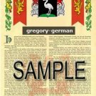 GREGORY - GERMAN - Coat of Arms - Family Crest - Armorial GIFT! 8.5x11