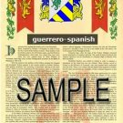 GUERRERO - SPANISH - Coat of Arms - Family Crest - Armorial GIFT! 8.5x11