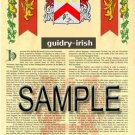 GUIDRY - IRISH - Coat of Arms - Family Crest - Armorial GIFT! 8.5x11