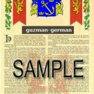 GUZMAN - GERMAN - Coat of Arms - Family Crest - Armorial GIFT! 8.5x11