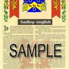 HADLEY - ENGLISH - Coat of Arms - Family Crest - Armorial GIFT! 8.5x11