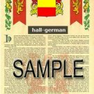 HALL - GERMAN - Coat of Arms - Family Crest - Armorial GIFT! 8.5x11