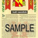 HALL - SWEDISH - Coat of Arms - Family Crest - Armorial GIFT! 8.5x11