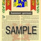HAMMER - GERMAN - Coat of Arms - Family Crest - Armorial GIFT! 8.5x11
