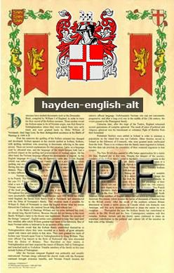HAYDEN - ENGLISH - ALT - Coat of Arms - Family Crest - Armorial GIFT! 8.5x11