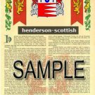 HENDERSON - SCOTTISH - Coat of Arms - Family Crest - Armorial GIFT! 8.5x11