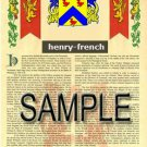 HENRY - FRENCH - Coat of Arms - Family Crest - Armorial GIFT! 8.5x11