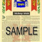 HICKEY - IRISH - Coat of Arms - Family Crest - Armorial GIFT! 8.5x11