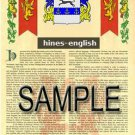 HINES - ENGLISH - Coat of Arms - Family Crest - Armorial GIFT! 8.5x11