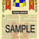 HONG - DUTCH - Coat of Arms - Family Crest - Armorial GIFT! 8.5x11