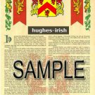 HUGHES - IRISH - Coat of Arms - Family Crest - Armorial GIFT! 8.5x11