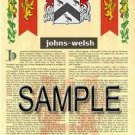 JOHNS - WELSH - Coat of Arms - Family Crest - Armorial GIFT! 8.5x11