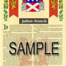 JULIEN - FRENCH - Armorial Name History - Coat of Arms - Family Crest GIFT! 8.5x11