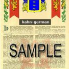 KAHN - GERMAN - Armorial Name History - Coat of Arms - Family Crest GIFT! 8.5x11