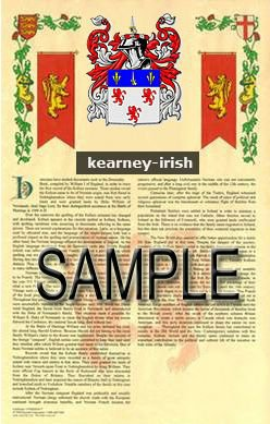 KEARNEY - IRISH - Armorial Name History - Coat of Arms - Family Crest GIFT! 8.5x11
