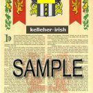 KELLEHER - IRISH - Armorial Name History - Coat of Arms - Family Crest GIFT! 8.5x11