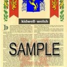 KIDWELL - WELSH - Armorial Name History - Coat of Arms - Family Crest GIFT! 8.5x11