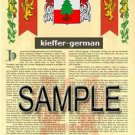 KIEFFER - GERMAN - Armorial Name History - Coat of Arms - Family Crest GIFT! 8.5x11