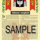 KILMER - ENGLISH - Armorial Name History - Coat of Arms - Family Crest GIFT! 8.5x11