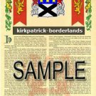 KIRKPATRICK - BORDERLANDS - Armorial Name History - Coat of Arms - Family Crest GIFT! 8.5x11