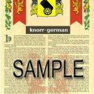 KNORR - GERMAN - Armorial Name History - Coat of Arms - Family Crest GIFT! 8.5x11