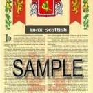 KNOX - SCOTTISH - Armorial Name History - Coat of Arms - Family Crest GIFT! 8.5x11