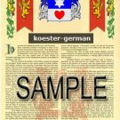 KOESTER - GERMAN - Armorial Name History - Coat of Arms - Family Crest GIFT! 8.5x11
