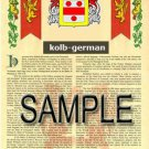 KOLB - GERMAN - Armorial Name History - Coat of Arms - Family Crest GIFT! 8.5x11