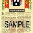 KURTH - GERMAN - Armorial Name History - Coat of Arms - Family Crest GIFT! 8.5x11