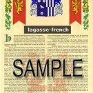 LAGASSE - FRENCH - Armorial Name History - Coat of Arms - Family Crest GIFT! 8.5x11