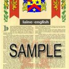 LAINE - ENGLISH - Armorial Name History - Coat of Arms - Family Crest GIFT! 8.5x11