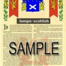 LAMPE - SCOTTISH - Armorial Name History - Coat of Arms - Family Crest GIFT! 8.5x11