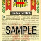 LANDES - SCOTTISH - Armorial Name History - Coat of Arms - Family Crest GIFT! 8.5x11