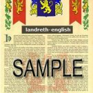 LANDRETH - ENGLISH - Armorial Name History - Coat of Arms - Family Crest GIFT! 8.5x11