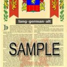 LANG - GERMANALT - Armorial Name History - Coat of Arms - Family Crest GIFT! 8.5x11