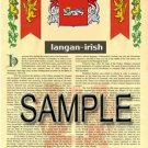 LANGAN - IRISH - Armorial Name History - Coat of Arms - Family Crest GIFT! 8.5x11