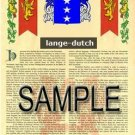 LANGE - DUTCH - Armorial Name History - Coat of Arms - Family Crest GIFT! 8.5x11