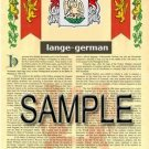 LANGE - GERMAN - Armorial Name History - Coat of Arms - Family Crest GIFT! 8.5x11