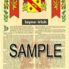LAYNE - IRISH - Armorial Name History - Coat of Arms - Family Crest GIFT! 8.5x11