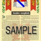 LEAKE - ENGLISH - Armorial Name History - Coat of Arms - Family Crest GIFT! 8.5x11