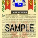 LENZ - GERMAN - Armorial Name History - Coat of Arms - Family Crest GIFT! 8.5x11